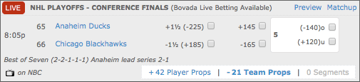 Bovada NHL Playoff Betting Lines - Anaheim Ducks vs Chicago Blackhawks