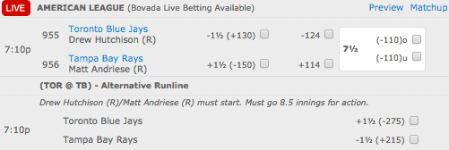 Bovada Sportsbook MLB Betting Lines - Toronto Blue Jays vs Tampa Bay Rays