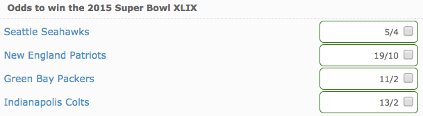Bovada Sportsbook Super Bowl XLIX NFL Final Four Futures Prices