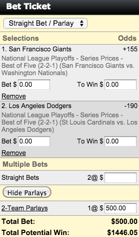 MLB National League Divisional Series Parlay Betting Ticket