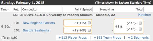 Seattle Seahawks vs New England Patriots Bovada Super Bowl XLIX Betting Lines