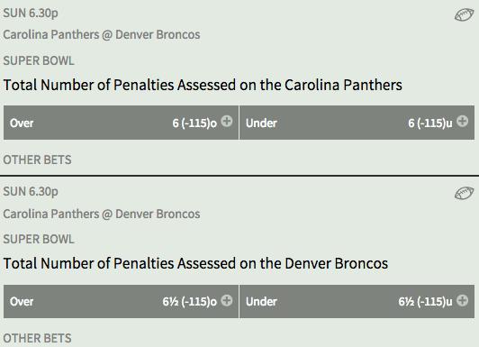 Super Bowl 50 Denver Broncos vs Carolina Panthers Bovada Penalty Prop Odds