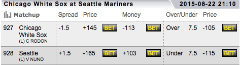 TopBet MLB Betting Lines - Seattle Mariners vs Chicago White Sox