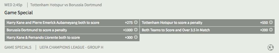 Tottenham vs Dortmund Special Bets at Bovada